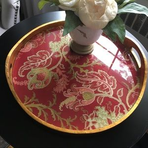 Pottery Barn Red Floral Serving Tray